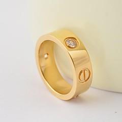 Moda Ouro / Diamantes Prata / Rosa CZ inserção de titânio de aço Anéis