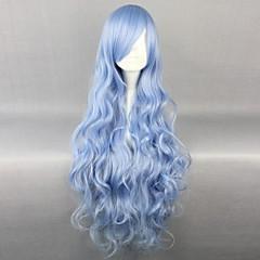 코스프레 가발 Date A Live Yoshino 블루 롱 / 컬리 에니메이션 코스프레 가발 90 CM 열 저항 섬유 여성