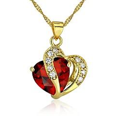 Corazón de la joyería de la manera para el collar pendiente de las mujeres 24K chapado en oro CZ con la cadena