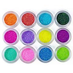 12 színű csillogó fólia por nail art dekoráció (véletlenszerű szín)