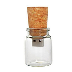 8 GB Glass Bottle with Cork USB Flash Pen Drive (Transparent)
