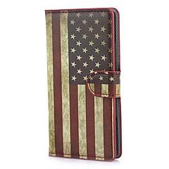 Retro USA American Flag Portfel Skórzany pokrowiec ze statywem i gniazdo kart Huawei Ascend P7