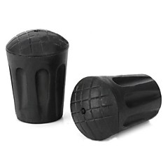 PVC Trekking Pole Round Non Slip Protection Cap Black 2 PCS