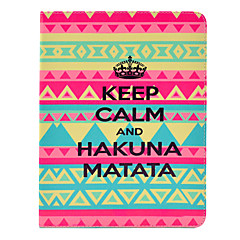 Hakuna Matata Tribal Teppe Mønster PU skinn Full Body sak med stativ for iPad 2/3/4