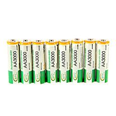 BTY 3000mAh AA Ni-MH genopladeligt batteri 8pcs