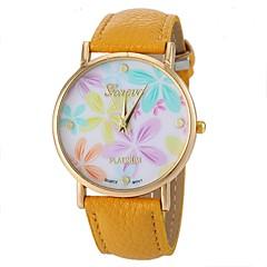 damesmode stijl bloem patroon pu band quartz horloge (verschillende kleuren)
