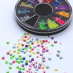 500PCS Mix Color Candy AB Acrylic Rhinestone Wheel Nail Art Decoration
