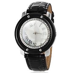 Diamante של נשים עגולות חיוג קוורץ להקת PU שעון מזדמן אנלוגי (צבעים שונים)