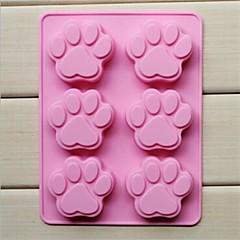 6 håls kattens tass form cake is jelly choklad formar, silikon 18,5 × 14,1 × 1,6 cm (7,3 × 5,6 × 0,6 tum)