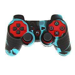 проводной двойной шок контроллер с крышкой кожи силикона для PS3
