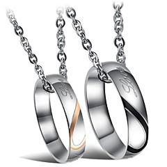 Fashion Heart-shaped Puzzle Titanium Steel Couples Ring Necklace