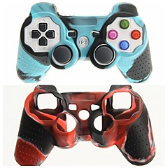 PS3 컨트롤러의 자유로운 선박을위한 방어적인 이중 색깔 실리콘 피부 덮개 케이스