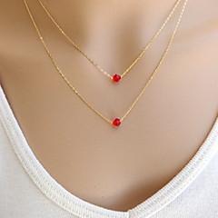 moda shixin® cadena doble cristal rojo collar colgante (1 unidad)