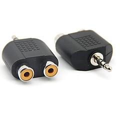 3,5 mm hann til 2RCA kvinnelig lyd adapter