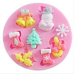 Snow Snowman Christmas Tree Baking Fondant Cake Choclate Candy Mold,L7cm*W7cm*H1.1cm