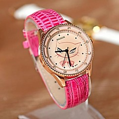 Women's Casual Watch Quartz Leather Band Black White Red Brown