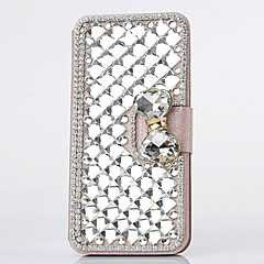 Fashion Crystal Diamond Leather Camellia Full Body Case with Stand for iPhone 4/4S