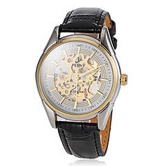 Pánské Náramkové hodinky Automatické natahování S dutým gravírováním Kůže Kapela Černá Značka-