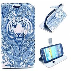 grå tatovering kommer tiger mønster pu læder tilfælde dække med stativ til Samsung Galaxy S3 i9300