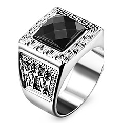 Famous Black Square Silver Stainless Steel Men's Ring