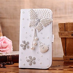Diamond Bowknot Pendent and Petal PU Leather Full Body Case with Stand and Card Slot for iPhone 4/4S
