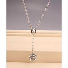 Fashion Long OL White Imitation Diamond Ball Gold Plated Necklace for Women in Jewelry Gift