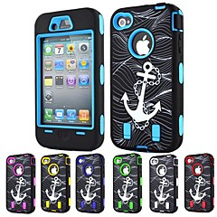3-in-1 Design Anchor Pattern Hard Case with Silicone Inside Cover for iPhone4/4S (Assorted Colors)