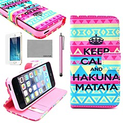 COCO FUN® Calm Tribal Pattern PU Leather Full Body Case with Film, Stand and Stylus for iPhone 5/5S