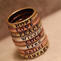 Frauen Europäische und amerikanische retro minimal Brief Wunsch Ring (gelegentliche Farbe)