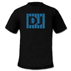 T-shirty LED Aktywowane dźwiękiem diody LED Tkanina Elegancki 2 baterie AAA