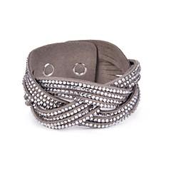 3 Rows Palited Stone Set Velvet Bracelet