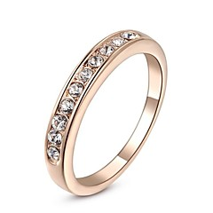 Small Stones Classic Wedding Ring 18K Rose/White Gold Plated Ring Made with Genuine Austrian Crystals
