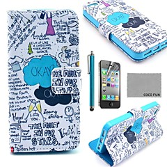 COCO FUN® Blue Graffiti PU Leather Full Body Case with Screen Protector, Stand and Stylus for iPhone 4/4S