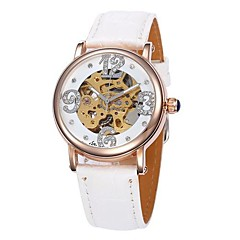 Women's Hollow Dial Gold Case Leather Band Auto-Mechanical Wrist Watch (Assorted Colors)