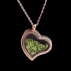 κράμα καρδιά μαγνητική γυαλί επιπλέει πράσινο rhinestone κόσμημα μενταγιόν διαβίωσης