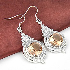 Round Morganite Gemstone Daily Drop Silver Classis Earrings 2pair