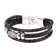 Punk Style Flat Plate Alloy Leather Bracelet(1 Pc)