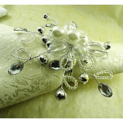 Pearl Crystal Flower Napkin Ring, Acrylic, 4.5CM, Set of 12