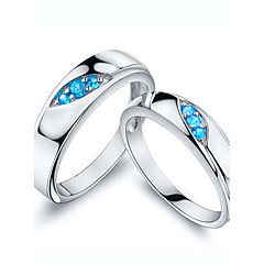 I FREE SILVER®Classic S925 Sterling Silver Blue Danube Couple Rings 2 pcs Promis rings for couples