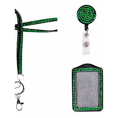 New Rhinstone Crystal  Bling Lanyard With Key Chain and Lobster Clip for ID Badge (With Reel and ID Holder)