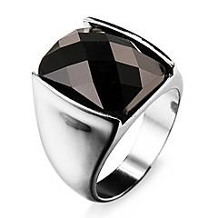 Famous Black Rectangular Silver Stainless Steel Men's Ring