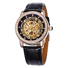 Women's Hollow Dial Gold Diamond Case Leather Band Auto-Mechanical Wrist Watch (Assorted Colors) Cool Watches Unique Watches