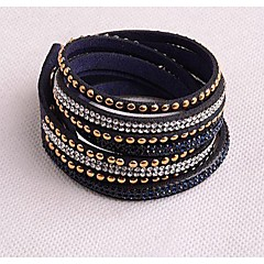 Leather Bracelets Twice New Arrivals Popular Copper Piece Diamond Dark Blue boots
