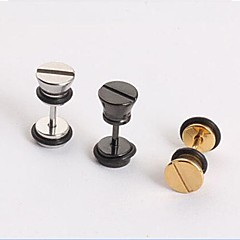 Fashion Screw Cap  Titanium Steel Stud Earring (Black,Silver,Gold) (1 PC) Christmas Gifts