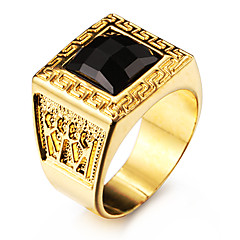 Famous Black Square Maze 18K Gold Plated Stainless Steel Men's Ring Jewelry