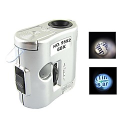 Mini 60X Magnification Microscope with LED Flashlight and Currency Detection Light (3 x LR43)