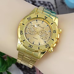 Fashionable Men's 45mm Round Dial Stainless Steel Watchband Wrist Watches Gold(1Pc) B Style Cool Watch Unique Watch