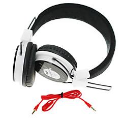WZS ergonomique casque stéréo salut-fi avec microphone (noir + blanc)