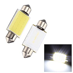 Merdia Festoon 2W COB 6000K 110LM 39MM 12SMD LED Cool White Light for Car License Plate Light / Reading Lamp - (2 PCS)