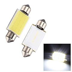 Merdia festón 2w mazorca 39mm 110lm 6000k 12SMD llevó la luz blanca fría de luz de la matrícula del coche de la lámpara / lectura - (2 piezas)